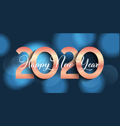happy new year banner design with bokeh lights vector image