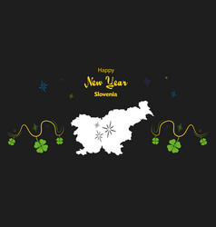 Happy new year theme with map of slovenia vector