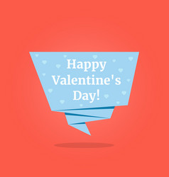 happy valentines day on blue origami label vector image