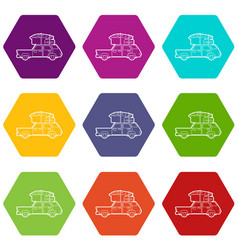 hatchback car with cargo luggage icons set 9 vector image