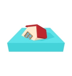 House sinking in a water icon cartoon style vector image
