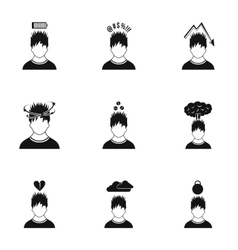 Human feelings icons set simple style vector