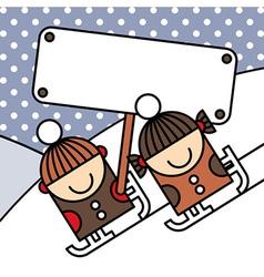 Ice skating kids with billboard vector image