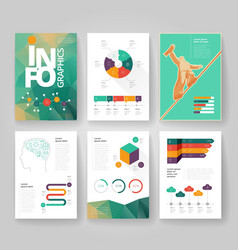 Infographics brochure color poly green vector