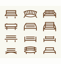 Isolated abstract brown color park bench element vector