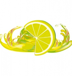 juice splashes and lemon vector image vector image
