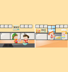 kitchen scenes with kids cooking and baking vector image