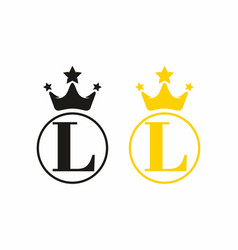 l initial letter with crown in circle logo vector image
