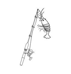 Line spincash reel catch the lobster food vector