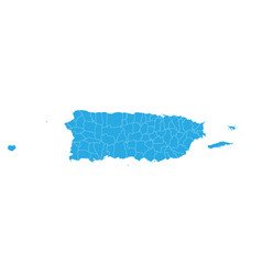 map of puerto rico high detailed map - puerto rico vector image