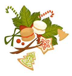 Merry christmas winter holiday cookies and sweets vector