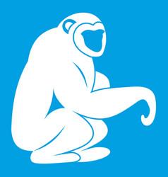 Monkey sitting icon white vector