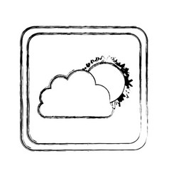 monochrome blurred square frame with cloud and sun vector image
