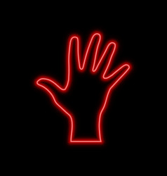 open hand palm neon sign bright glowing symbol on vector image