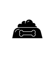 Pet food bowl black glyph icon vector