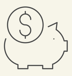 piggy bank thin line icon savings vector image