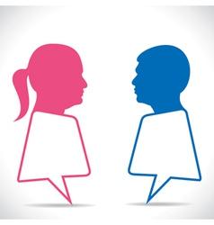 Pink women and blue men message bubble vector