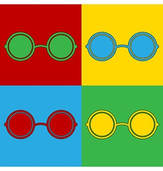 Pop art glasses icons vector