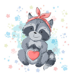 postcard cute raccoon with heart cartoon style vector image