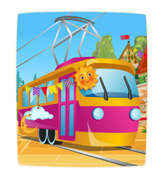 poster with festively decorated tram car vector image
