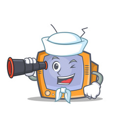 Sailor tv character cartoon object with binocular vector