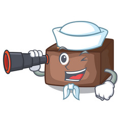 sailor with binocular homemade sweet cake with vector image