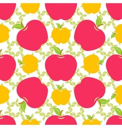 Seamless pattern with red and yellow apples vector