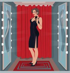 Selfie black dress in fitting room vector