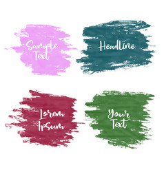 set four greunge watercolor paint stroke vector image