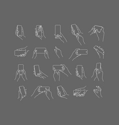Set hand phone positions gray vector