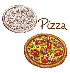 set of round italian pizza vector image