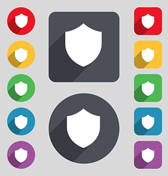 Shield Protection icon sign A set of 12 colored vector