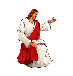 Side view of Jesus Christ sitting vector image