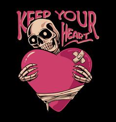 skull holding love vector image