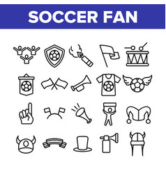 Soccer fan equipment collection icons set vector