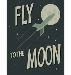 Spaceship fly to the moon vector