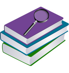 Stack books with magnifier vector
