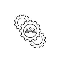 Team work cogwheels icons vector