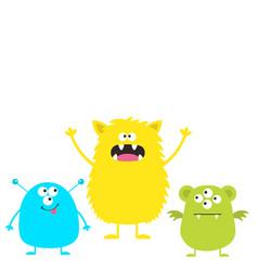 three colorful monster set head face cute cartoon vector image