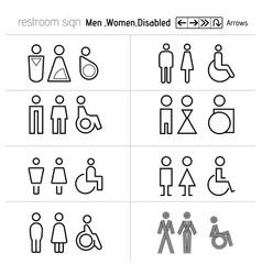 toilet sign restrooms sign door blind people door vector image
