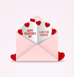 Valentines card in an envelope and red hearts vector image