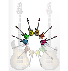 Various Color of Electric Guitars vector image