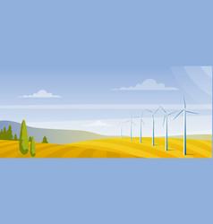 wind turbines on on autumn field flat vector image