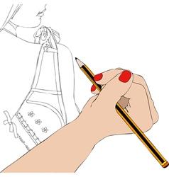 Woman draws underwear vector image vector image