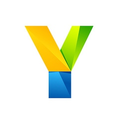 Y letter one line colorful logo design template vector image