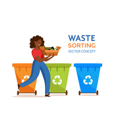 Young african american woman throwing garbage into vector