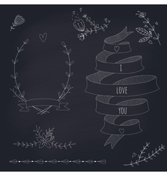 Hand drawn set of wedding design elements vector image