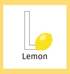 lemon and letter l coloring page vector image vector image