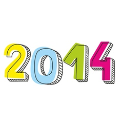 New Year 2014 hand drawn doodle sign vector image vector image