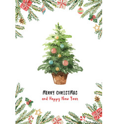 watercolor greeting card with christmas vector image